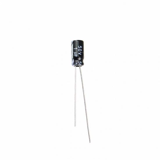 1 uF 50V Through Hole Electrolytic Capacitor