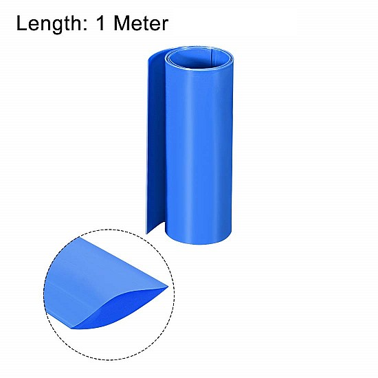 160mm 1-Meter PVC Heat Shrink Sleeve Blue for Lithium Cell Pack