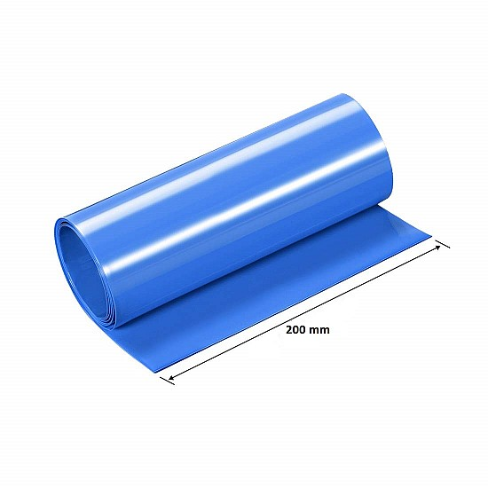 200mm 1-Meter PVC Heat Shrink Sleeve Blue for Lithium Cell Pack