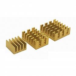 3 in 1 Golden Aluminum Heatsink for Raspberry Pi 3/4