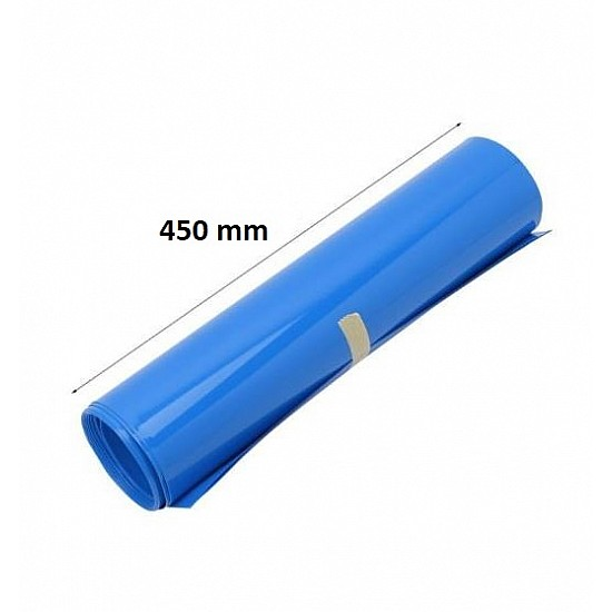 450mm 1-Meter PVC Heat Shrink Sleeve Blue for Lithium Cell Pack