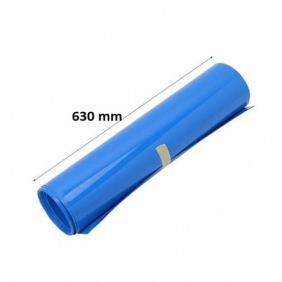 630mm 1-Meter PVC Heat Shrink Sleeve Blue for Lithium Cell Pack