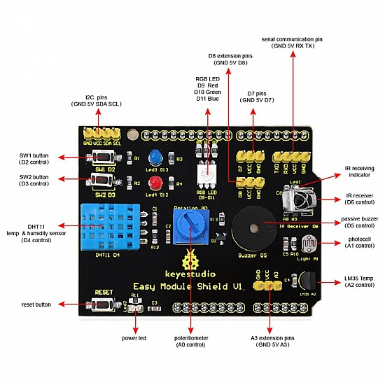 9IN1 Multifunction Arduino Shield DHT11/LM35/Buzzer/Humidity/Ir Receiver/Potentiometer/LED/Switch/LDR Sensor Arduino