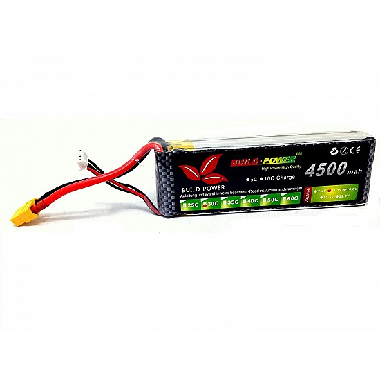4500mah 11.1v 30C 3S Build Power Lipo Battery - Battery and Charger - Multirotor