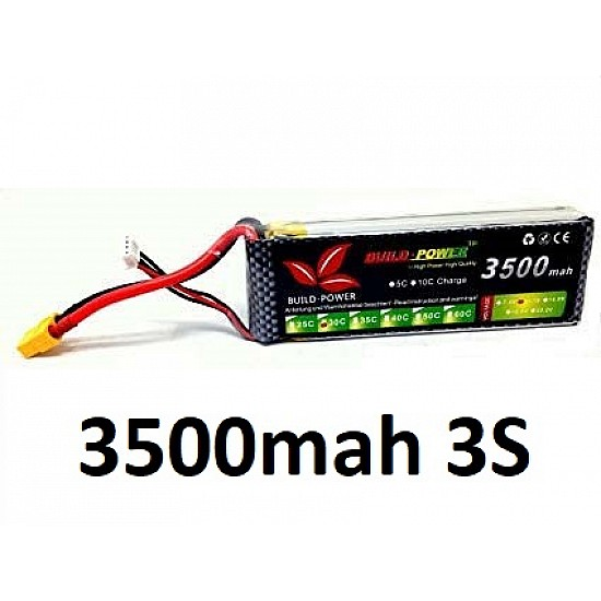 3500mah 11.1v 30C 3S Build Power Lipo Battery - Battery and Charger - Multirotor
