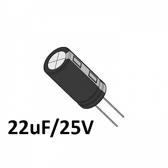 22uf / 25v Electrolytic Capacitor - Capacitors - Core Electronics