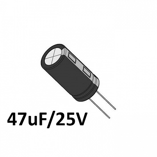 47uf / 25v Electrolytic Capacitor - Capacitors - Core Electronics