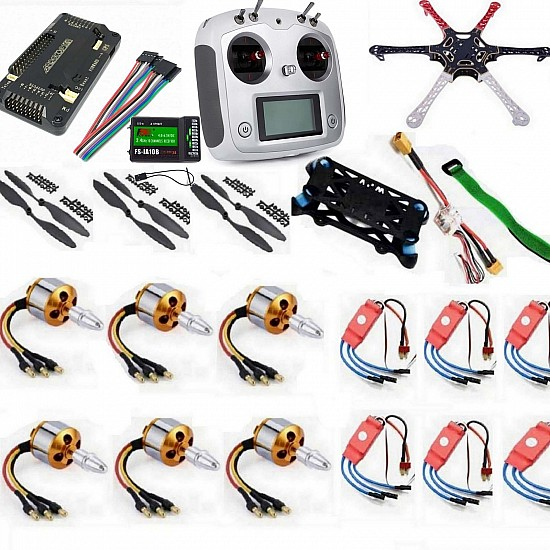 Hexacopter Drone Combo with APM 2.8 and 10ch FlySky FS-I6S (Motor + ESC + Propeller + Flight Controller + Frame + TX-RX Flysky FSi6+ Power module + Belt) - Multirotor