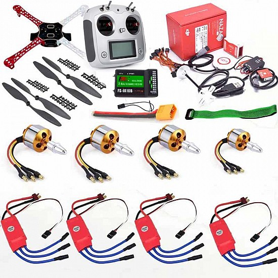 Quadcopter Drone Combo with NAZA M-Lite Kit  with 10ch TX-RX (Motor + ESC + Propeller + Flight Controller + Frame + TX-RX + Power module + Belt) - Multirotor -