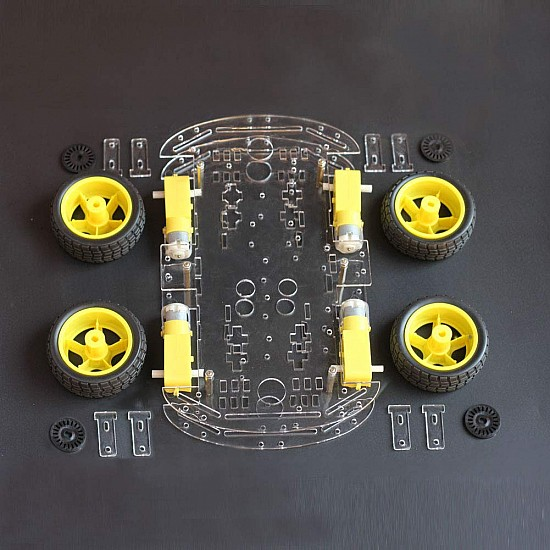 DIY Car Robot Kit - Chassis,4 x Motor,4 x Wheels and other Accessories - Robot Spare Parts -