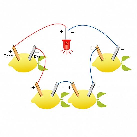 DIY Fruit Battery Kit Light Diode Apple Potato Lemon Generator Science Project Experiment