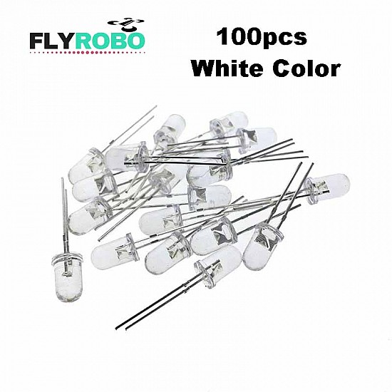 100pcs White Transparent LED Light  Diode 5mm (Light Emitting Diod) - Other -