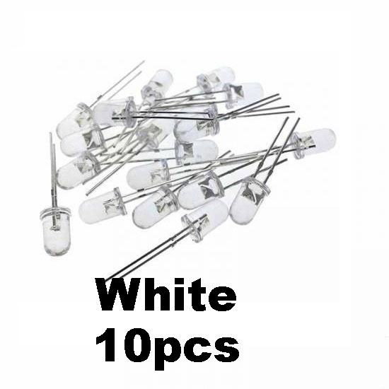 10pcs White Transparent LED Light  Diode 5mm (Light Emitting Diod) - Other -