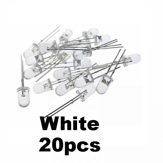 20pcs White Transparent LED Light  Diode 5mm (Light Emitting Diod) - Other -