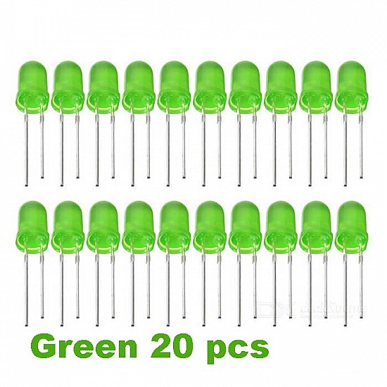 Green LED 5mm Pack Of 20  (Light Emitting Diod) - Other -