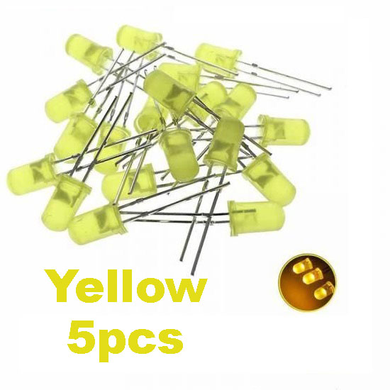 Yellow LED 5mm Pack Of 5  (Light Emitting Diod) - Other -