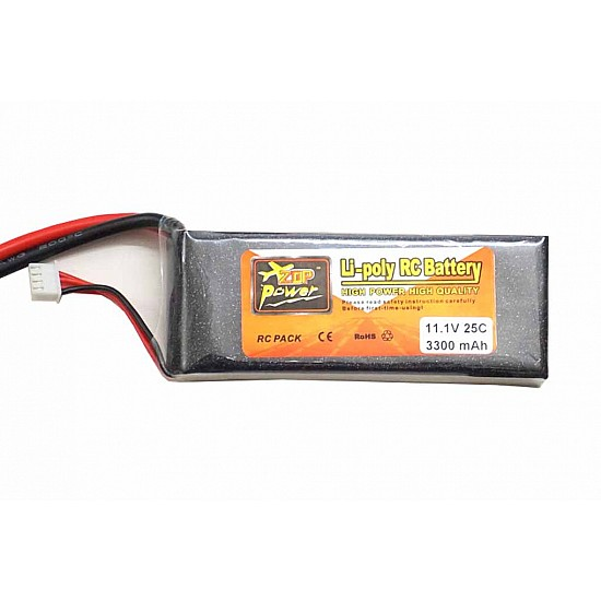 ZOP Power LiPo Battery 11.1V 3300MAH 3S 25C (Select T-Plug or XT60) - Battery and Charger - Multirotor