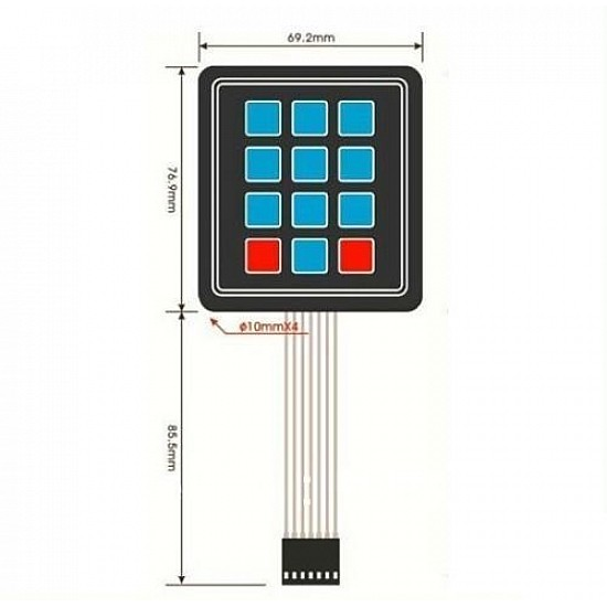 12 Keys 3x4 Matrix - Membrane Type Keypad - Sensor - Arduino