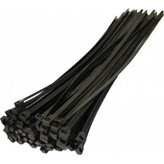 Nylon Flexible Black 100pcs Straps 200 mm X 3.6 mm Cable Tie