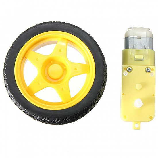 DC 3-6v BO Gear Motor With Plastic Tire Wheel  For Arduino Smart Car - DC Gear Motor - Motor and Driver