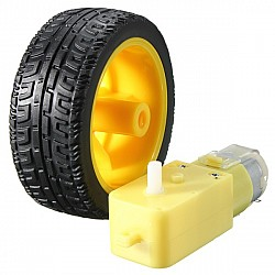 DC 200RPM 3-6v BO Gear Motor With Plastic Tire Wheel  For Arduino Smart Car