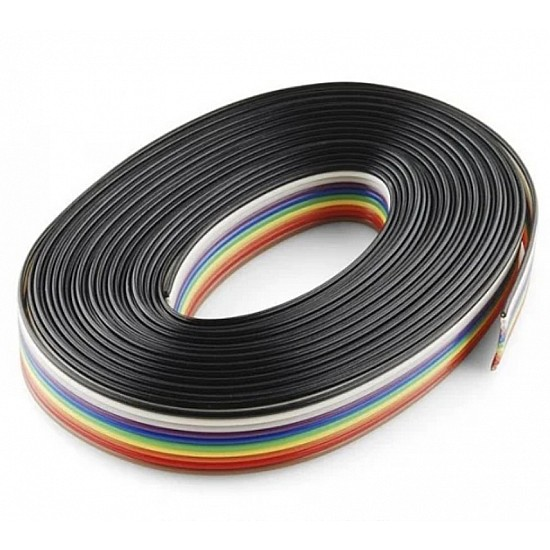 Rainbow 10 Core Color Flat Ribbon Wire Cable - 1Meter