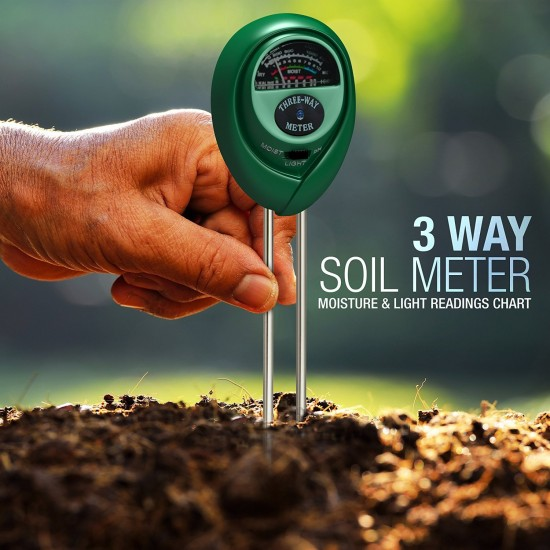Three-Way Soil Meter For Moisture, Light Intensity and pH Testing Meter