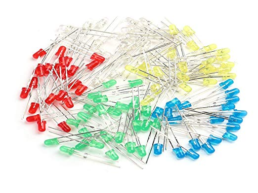Pack of 25 - 5 Colours LEDs 5mm (White,Green,Red,Yellow and Blue)
