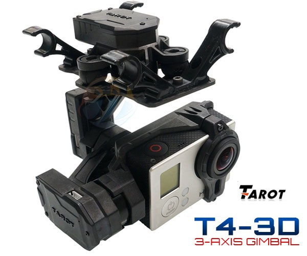 Tarot 3 Axis Gimbal T4-3D Dual Shock Absorber  PTZ for Gopro Hero4 3+ 3 FPV RC Drone TL3D02 - FPV - Multirotor