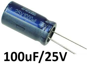 100uf / 25v Electrolytic Capacitor - Capacitors - Core Electronics