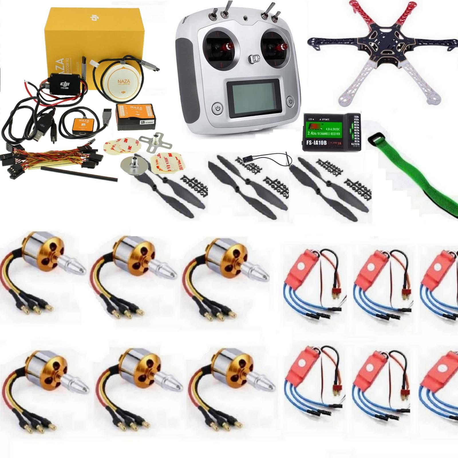 Hexacopter Drone Combo with DJI NAZA V2 and 10ch FlySky FS-I6S (Motor + ESC + Propeller + Flight Controller + Frame + TX-RX Flysky FSi6+ Power module + Belt) - Multirotor