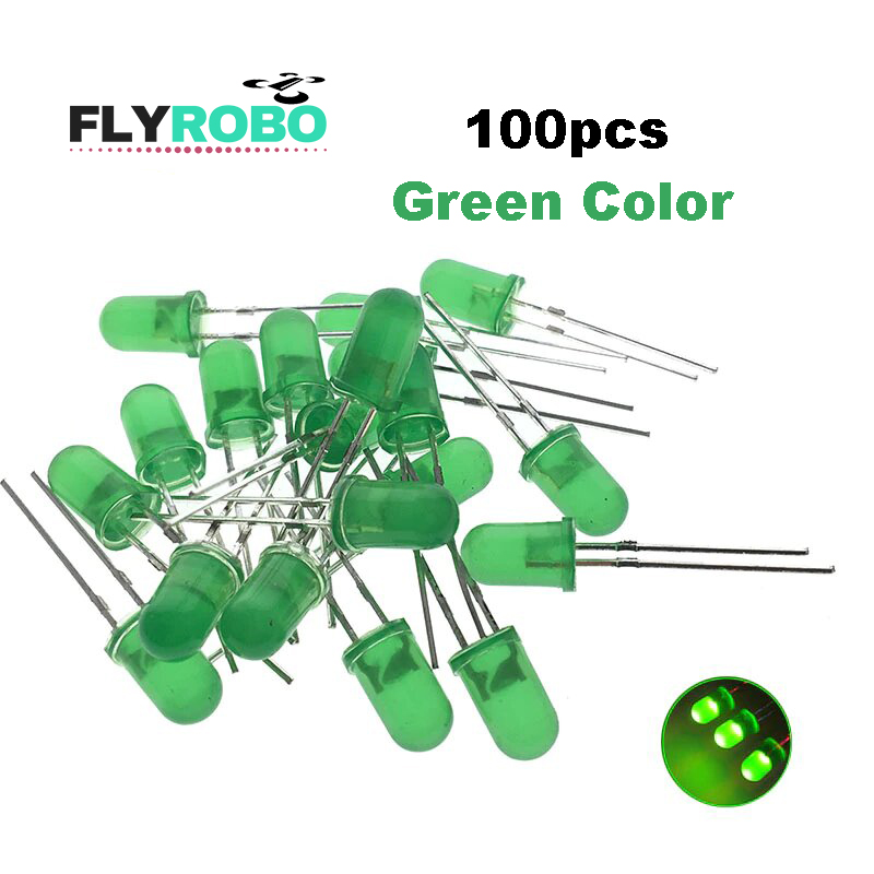 Green LED 5mm Pack Of 100  (Light Emitting Diod) - Other -