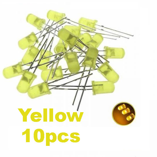 Yellow LED 5mm Pack Of 10  (Light Emitting Diod) - Other -