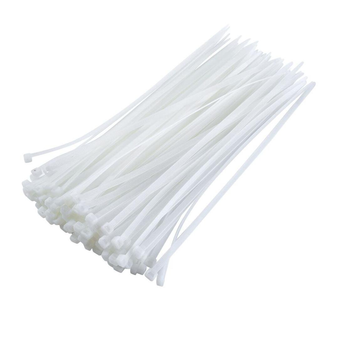 Nylon Flexible White 100pcs Straps 300 mm X 3.6 mm Cable Tie